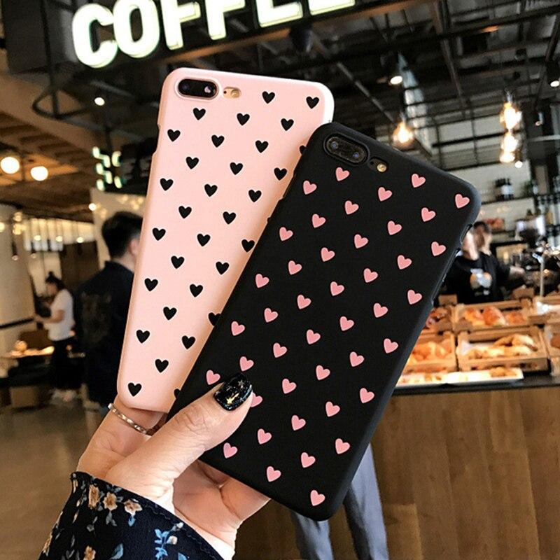 IPWSOO милый чехол для телефона для iPhone 6 6 S 7 8 Plus X Чехол розовый Пары Любовь Сердце Pattern Жесткий ПК для iPhone 5 <font><b>5S</b></font> <font><b>SE</b></font> телефон Fundas