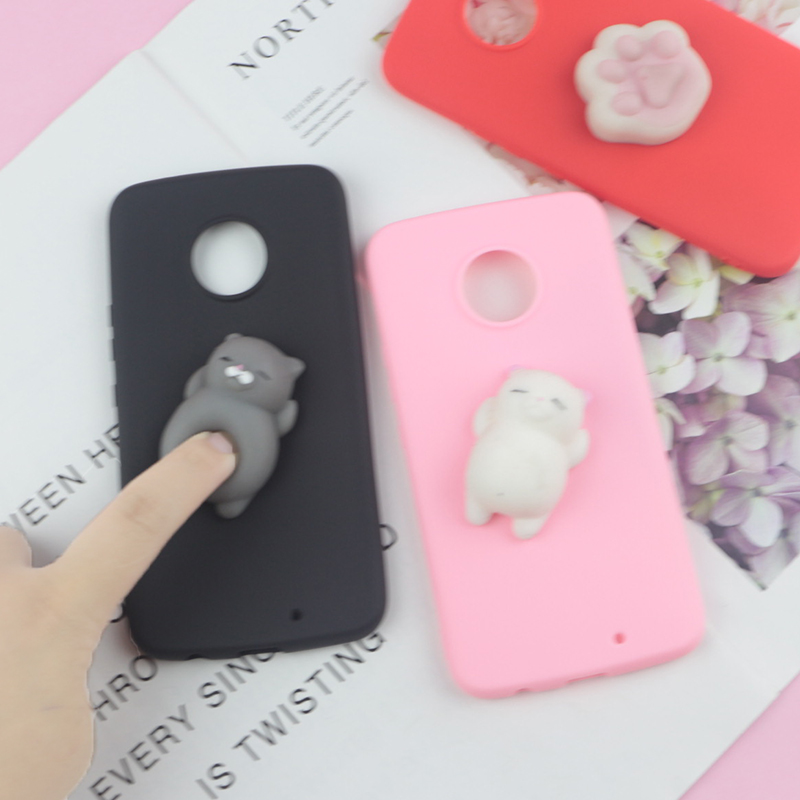 3D Squishy Toys Cute Cat Case For Motorola Moto G6 Play G5S G5 G4 G3 C Plus Z2 Z3 Play E4 Euro X4 E5 Plus Cover Funny Cat Cases