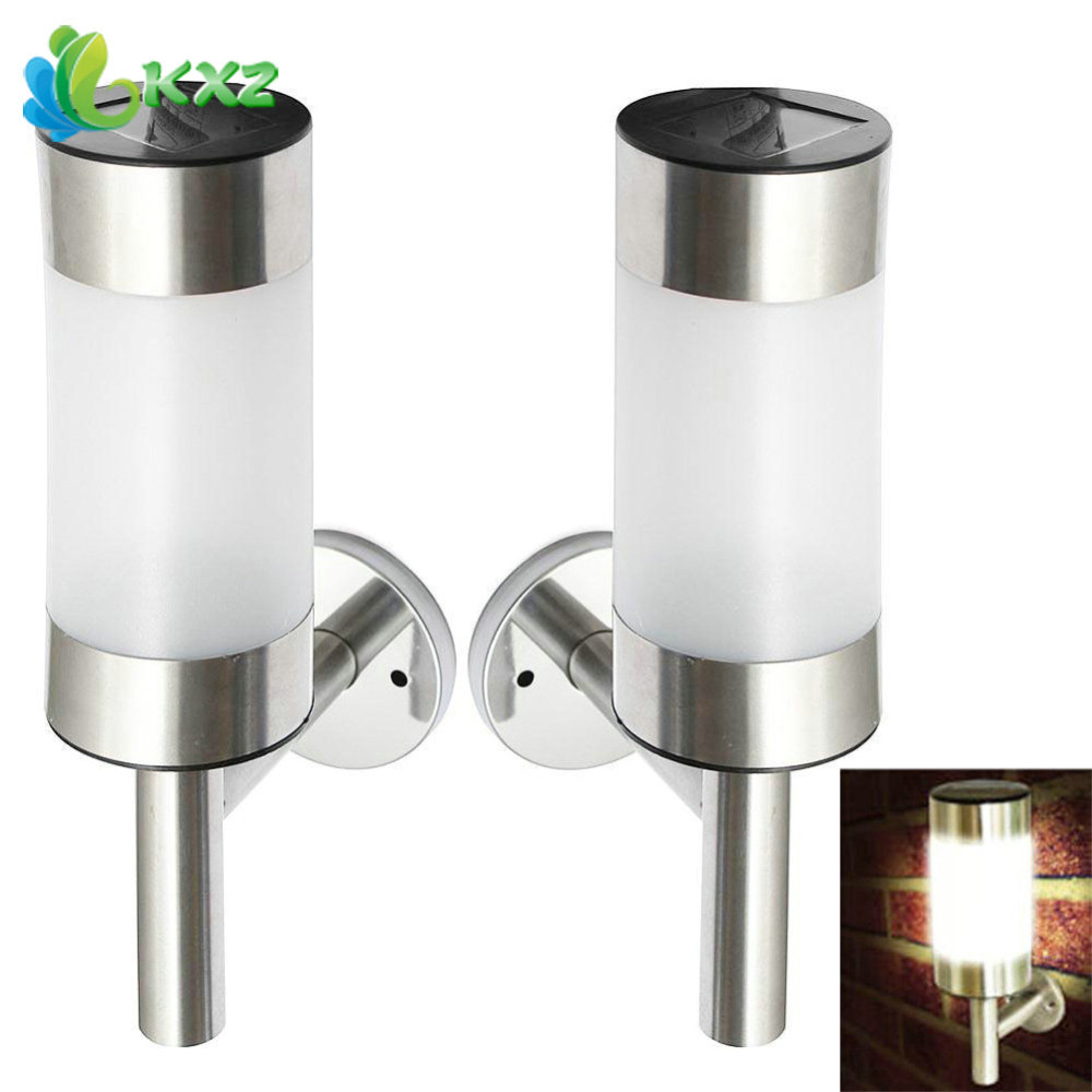 2pcs Solar Power Wall Mount LED Light Stainless Steel Outdoor Yard Street Path Stair Secuity Sensor