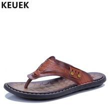 22431ec20 Летние Для мужчин; кожаные шлепанцы в Корейском стиле-босоножки без  застежки мужские слайды за пределами вьетнамки пляжные туфли.