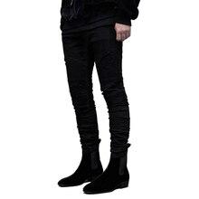 цены на 2019 men hip hop jeans fashion skinny locomotive Striped jeans Hole Designer bike Jogger mens trousers Brand Swag Denim Pants  в интернет-магазинах
