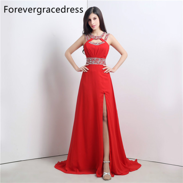 Forevergracedress Real Photos Red Color Prom Dress Gorgeous A Line Halter Long Chiffon Formal Party Gown Plus Size Custom Made