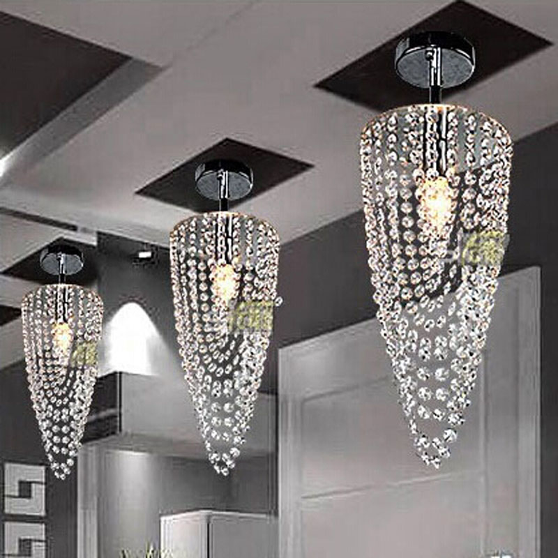 HQXING LED 1 light Chrome Modern K9 crystal chandelier lighting D17 H45cm AC110V 256V Transparent color