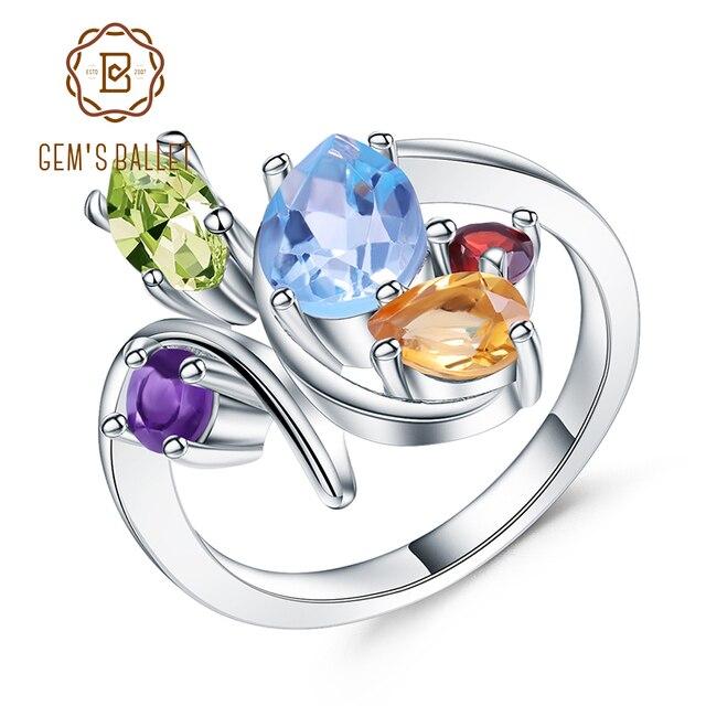Gems الباليه زهرة متعدد الألوان الطبيعية جمشت العقيق الزبرجد سيترين توباز خاتم كبير 925 فضة خاتم للنساء