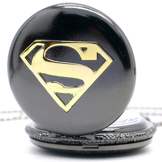 Long Necklace Chain Men Boy Black Case Superman Pocket Watch New Quartz Hero Mar