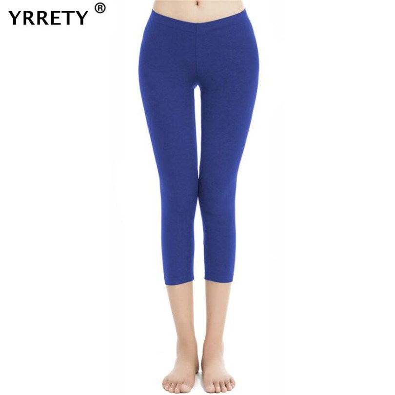 YRRETY Women Legging  Black Capri Leggings Sexy Fitness Sporting Pants Mid-Calf Trousers Hight Waist Solid Bottom Slim Leggings