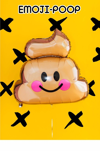 2pc Foil Emoji Smile Poo Poop Cute And Novelty Globos Happy Birthday Party Decoration Baby Shower Supplies Kids Gift Toy