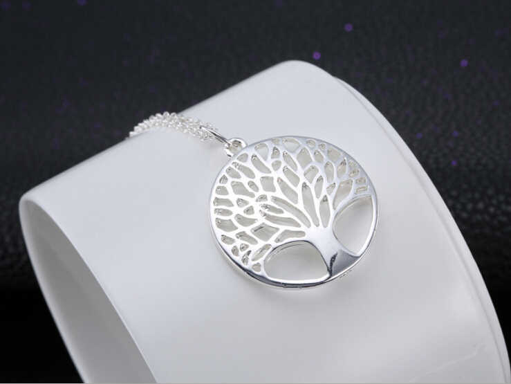 Fashion silver Tree Of Life Pendant Necklace silver totem religion 18inch collares populares 925 wedding Valentines Day jewelry
