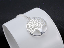 Fashion silver Tree Of Life Pendant Necklace silver totem religion 18inch collares populares 925 wedding Valentines Day jewelry(China)