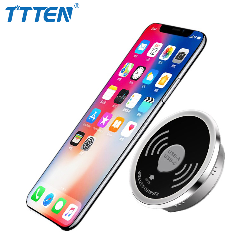 TTTEN Wireless Charger Embedded Desktop Wireless Transmitter Qi standard Smart Furniture Office Build in Charger for iphone8x
