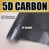 Premium High Glossy Black 5D Carbon Fiber Vinyl Wrap Film Bubble Free For Car Styling