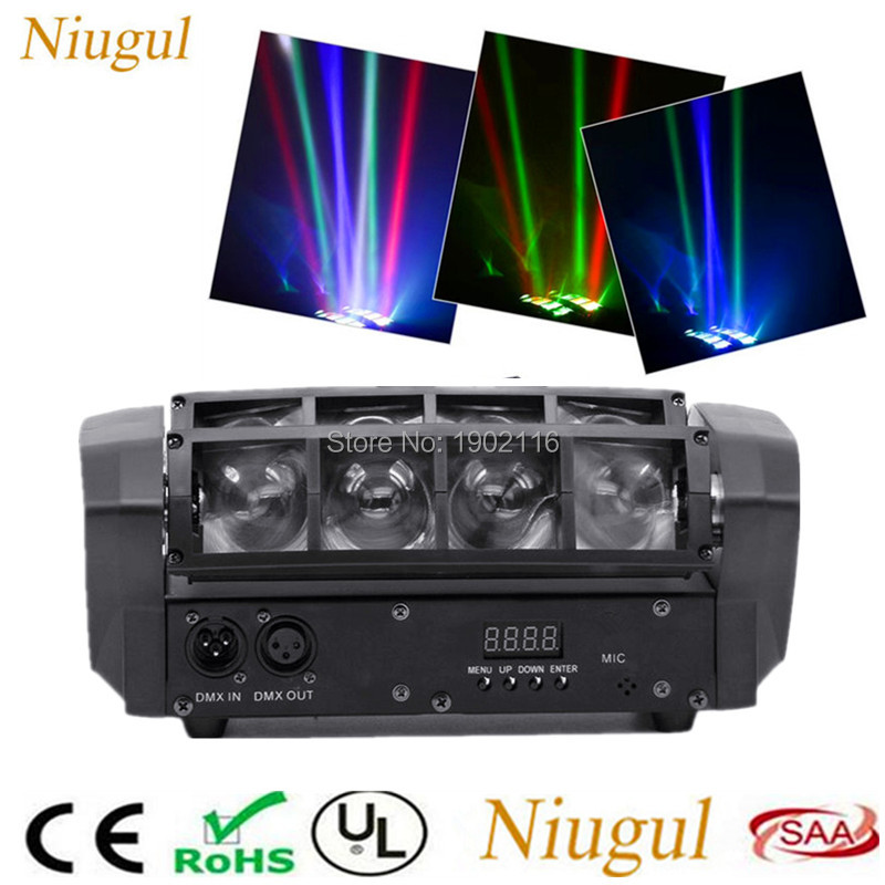 Mini Spider Moving Head Light LED RGBW Beam Stage Dj Disco Laser show DMX512 Sound Light KTV wedding Christmas home party lamps laser head owx8060 owy8075 onp8170