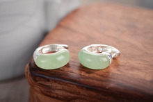 earrings for women sterling-silver-jewelry Turquoise Blue RNatural Green Jade 925 Sterling Silver Earring Studs