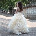 Высокий Низкий Люкс Оборками Принцесса Цветочница Платье 2016 Опухшие Девушки Pageant Платья для Детей Платье De Daminha Лонго
