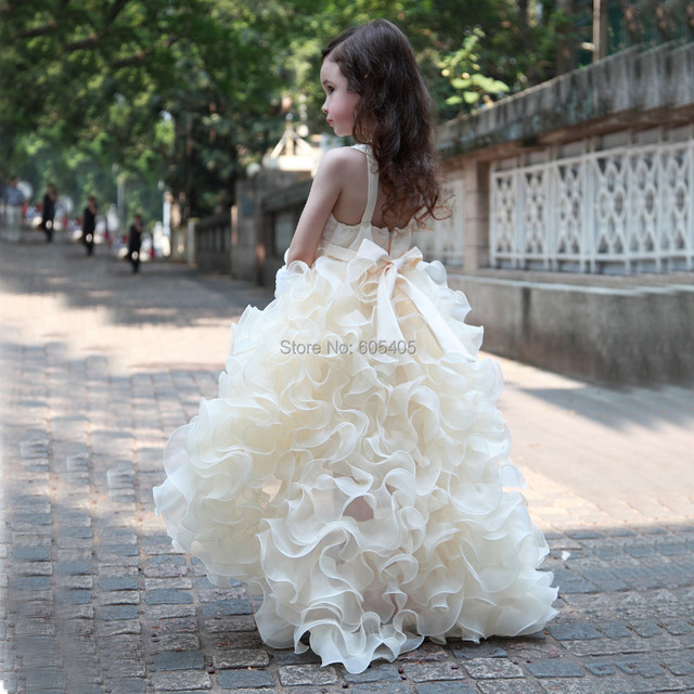 5b1195c11 High Low Luxury Ruffles Princess Flower Girl Dress 2016 Puffy Girls Pageant  Dresses for Children Vestido