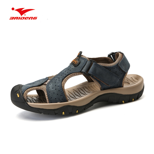 0bf4b4d58da Baideng Men Hiking Sandals Outdoor Leather Mountain Climbing Trekking Sport  Shoes Rubber Anti-slippery Wear-resistant Sneaker