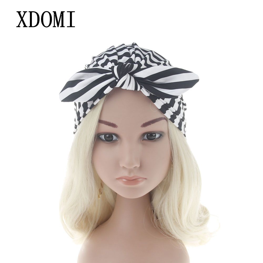 XDOMI Girls Boy Striped Turban Bunny Ear Knot Cap India Soft Beanie Hat Rabbit Ears Knitting Muslim Hat Children Photography Hat 2017 new fashionable cute soft black grey pink beige solid color rabbit ears bow knot turban hat hijab caps women gifts