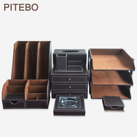 PITEBO бизнес кожаный Настольный многоцелевой penholder творчески Корея канцелярские принадлежности специальный костюм