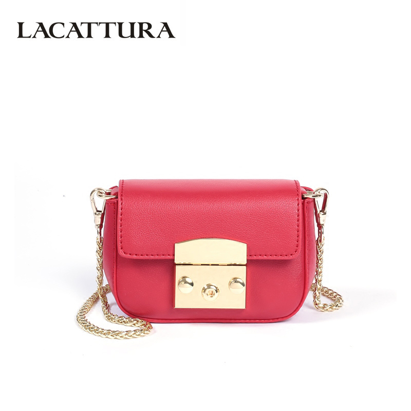 LACATTURA Luxury Handbags Women Leather Chain Bags Ladies Mini Flap Shoulder Bag Fashion Clutch Crossbody For Girls Candy Colors