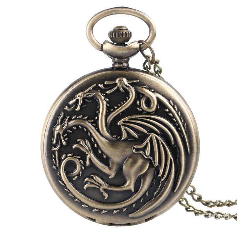 Black Game Of Thrones House Targaryen Stream Punk Pocket Watches Dragon FOB Watches Men Women Gift With Chain Free Shipping
