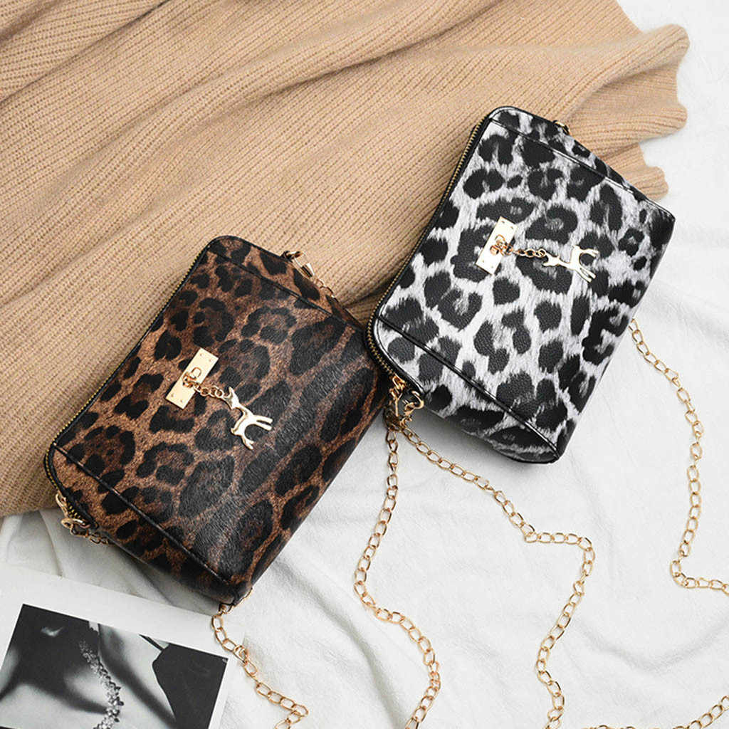 424ca23475c8 Women Leopard Print Crossbody Bag Fawn Pendant Shell Single Shoulder  Messenger Bag PU Leather Zipper Vintage Handbag