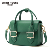 EMINI HOUSE Split Leather Flap Handbag Women Shoulder Bag Metal Decoration Crossbady Bags High Quality Women
