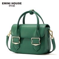 EMINI HOUSE Split Leather Flap Handbag Women Shoulder Bag Metal Decoration Crossbady Bags High Quality Women Messenger Bag Handbags