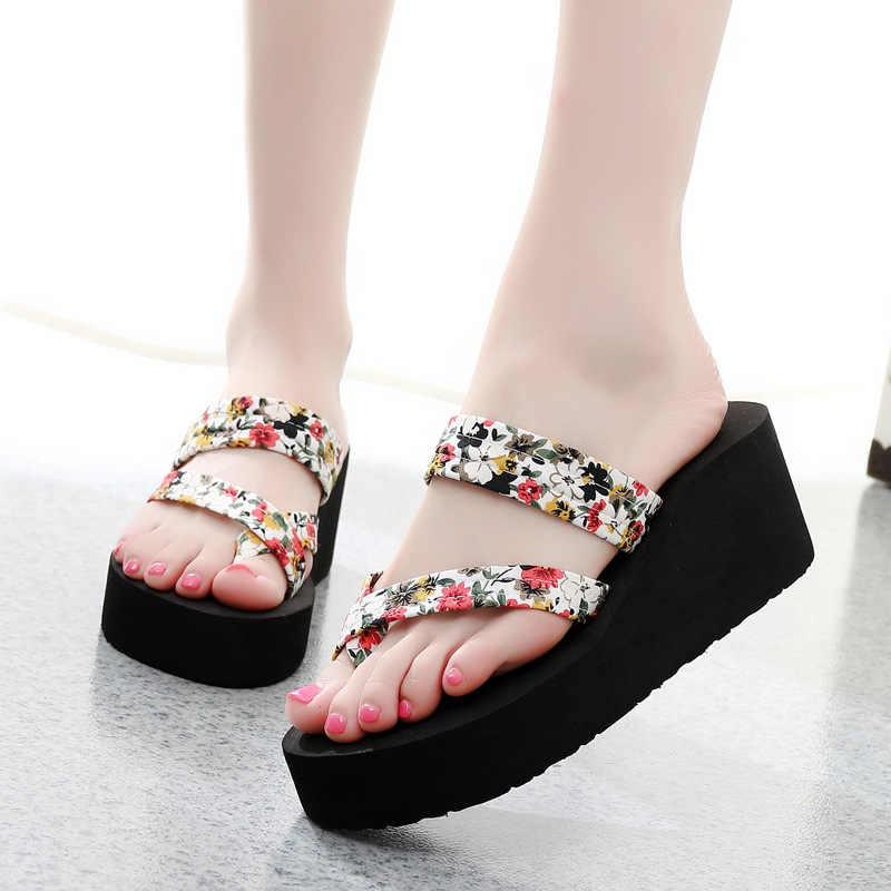 37a3ebe276ee Summer Women Flip Flops Slippers High Heel Platform Wedge Thick Beach  Casual Thong Sandals Shoes Best