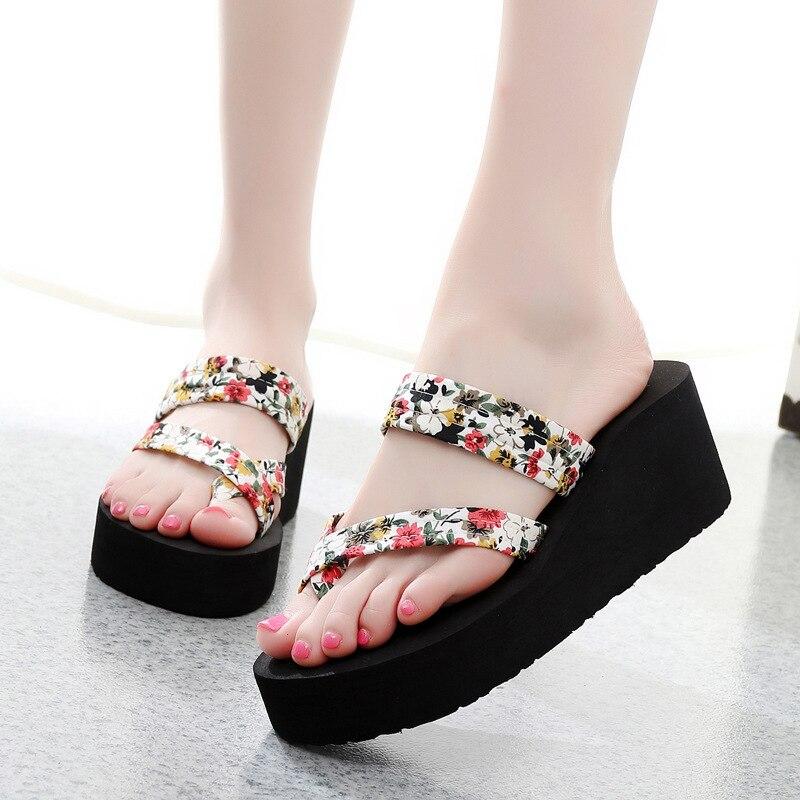 d0ceed9481c Summer Women Flip Flops Slippers High Heel Platform Wedge Thick Beach  Casual Thong Sandals Shoes Best Sale-WT