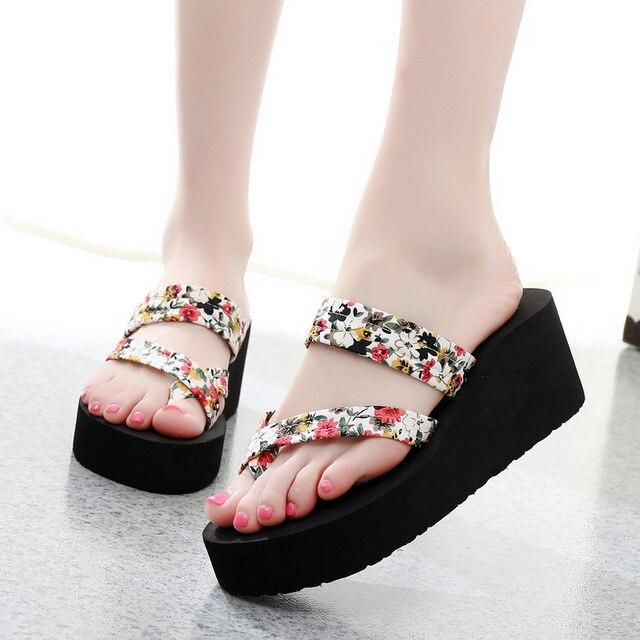 ab43c9c0e50f3d Summer Women Flip Flops Slippers High Heel Platform Wedge Thick Beach  Casual Thong Sandals Shoes Best Sale-WT