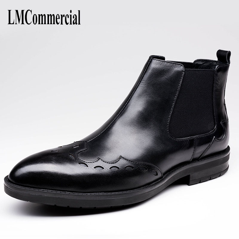 New genuine leather men's short boots, autumn winter fashion Martin boots, layer cowhide carved with leisure men's leather boots