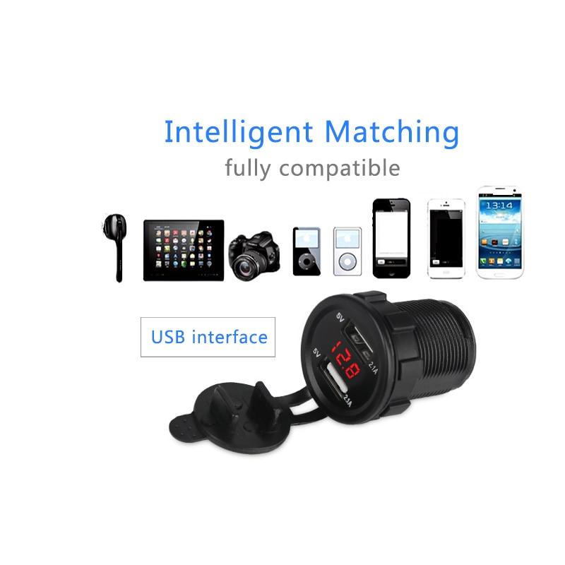 12 v 2.1A Coche Moto Cargador USB Voltímetro Socket Dual USB - Electrónica del Automóvil - foto 3