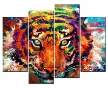 4 Pieces Picture Painting colorful tiger Print Poster animal print wall Pictures for Living Room Canvas Framed