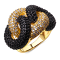Black and white Ring gold plated Cubic zirconia CZ rings for girl lastest designs new fashion jewelry Free shipping
