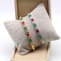 Fashion Jewelry Simple Emerald Ruby AAA Zircon Platinum 18k Gold Plated Bracelets Bangles