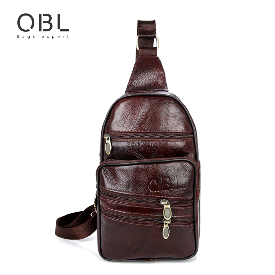 QiBoLu Genuine Leather Mens Sling Bag Single Shoulder Bag Men Chest Pack Messenger Crossbody Bag for Man Bolsas Masculina MBA37