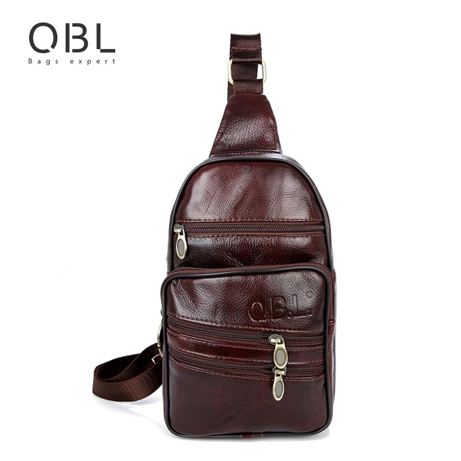 QiBoLu Genuine Leather Mens Sling Bag Single Shoulder Bag Men Chest Pack Messenger Crossbody Bag for Man Bolsas Masculina MBA37