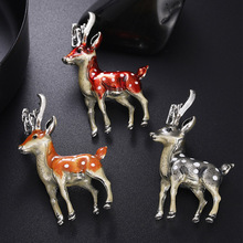 Sale Cute Small Deer Brooches for Women Bucks Sika Animal Brooch Pin Coat Accessories Kids Gift 3 Colors