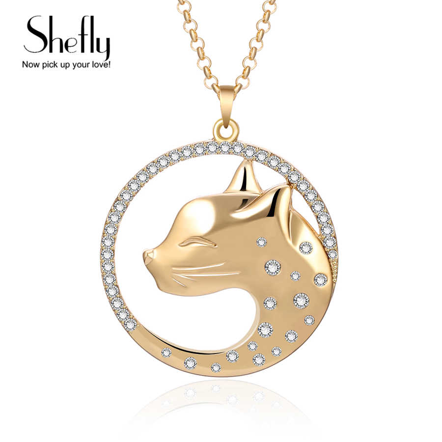 Cat Jewelry Big Leopard Pendants Necklaces Gold Silver Long Statement Necklace For Women 2019 Rhinestone collier femme kolye