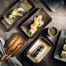 EECAMAIL креативная керамическая посуда в японском стиле тарелка для суши тарелка для сашими хлеба длинная тарелка холодная тарелка