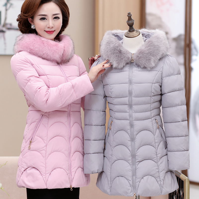 Quinquagenarian wadded jacket female winter 40 50 cotton padded jacket thickening outerwear mother clothing cotton padded