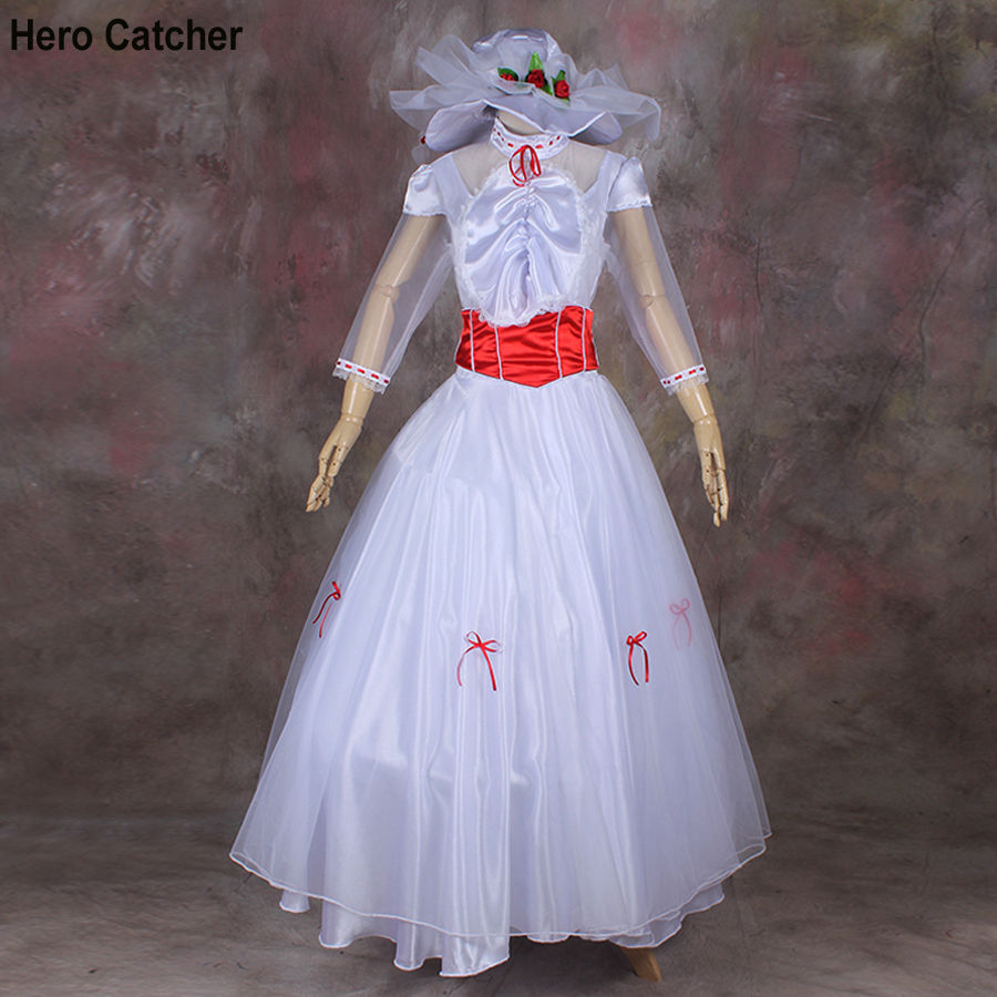Hero Catcher High Quality Mary Poppins Cosplay Dress Movie Mary Poppins Costume For Halloween Performance Costume