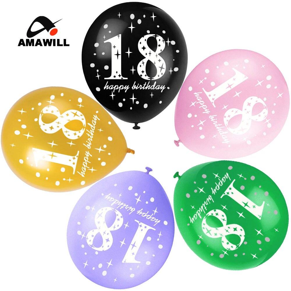 Pink Happy 18th Birthday Balloon: Amawill 18th Balloon Happy Birthday Party Gold & Black