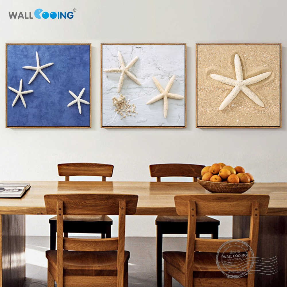 wall cooing Home decoration painting canvas painting beautiful pattern on the beach in the sea starfish square DIY frame