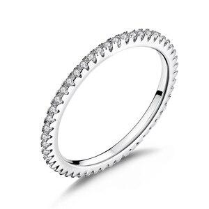 Image 1 - WOSTU Alla Moda Impilabile Anello di 100% 925 Sterling Silver Circle Geometrica Anelli di Zircon Per Le Donne Dei Monili di Cerimonia Nuziale Regalo FIR066