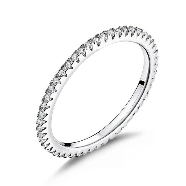 WOSTU Alla Moda Impilabile Anello di 100% 925 Sterling Silver Circle Geometrica Anelli di Zircon Per Le Donne Dei Monili di Cerimonia Nuziale Regalo FIR066