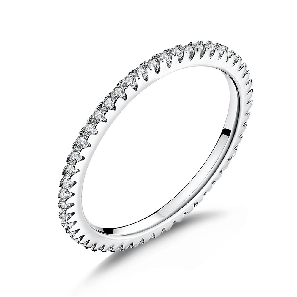 WOSTU Fashionable Stackable Ring 100% 925 Sterling Silver Circle Geometric Rings Zircon For Women Wedding Jewelry Gift FIR066rings for women weddingfashion rings for womenrings for women -