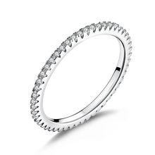 WOSTU Fashionable Stackable Ring 100% 925 Sterling Silver Circle Geometric Rings Zircon For Women Wedding Jewelry Gift FIR066