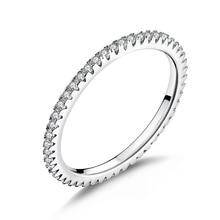 خاتم عصري من الفضة الإسترلينية WOSTU Real 100% عيار 925 على شكل دائرة مرصّعة بالزركونيوم المكعّب بتصميم هندسي قابل للتكديس للنساء هدايا مجوهرات الزفاف