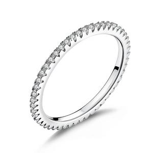 Image 1 - Wostu Modieuze Stapelbaar Ring 100% 925 Sterling Zilveren Cirkel Geometrische Ringen Zirkoon Voor Vrouwen Bruiloft Sieraden Gift FIR066